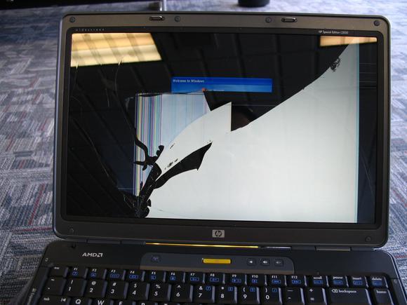 broken cracked laptop screen